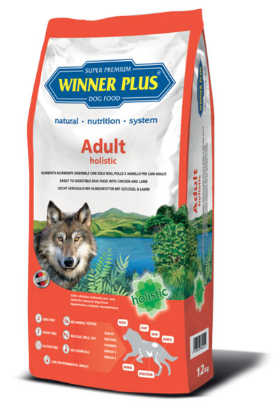 Winner Plus Adult Holistic 12kg + 3x100g Perrito pamlsek ZDARMA